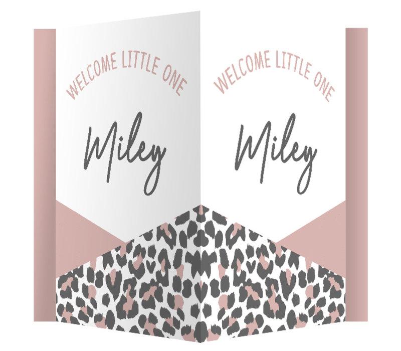 Geboorte raambord | Leopard old pink