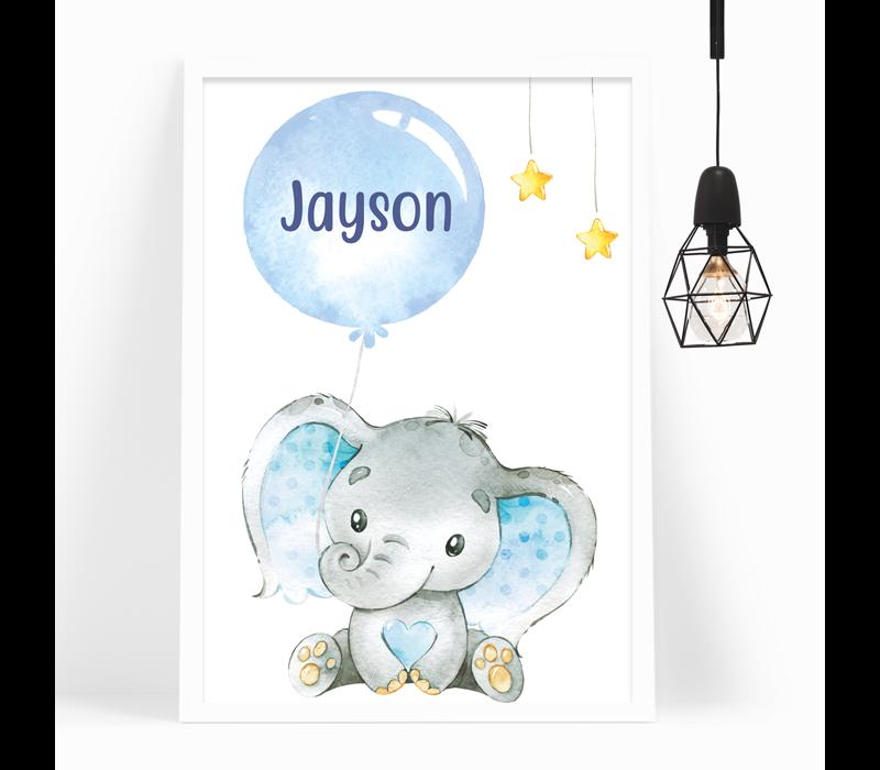 Kinderkamer Poster | Olifantje blauw