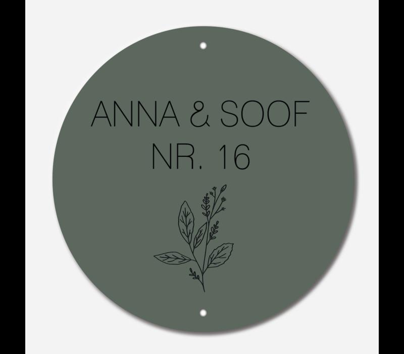 Naambordje print | Cirkel groen