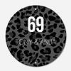 Label2X Naambordje print | Cirkel leopard grijs