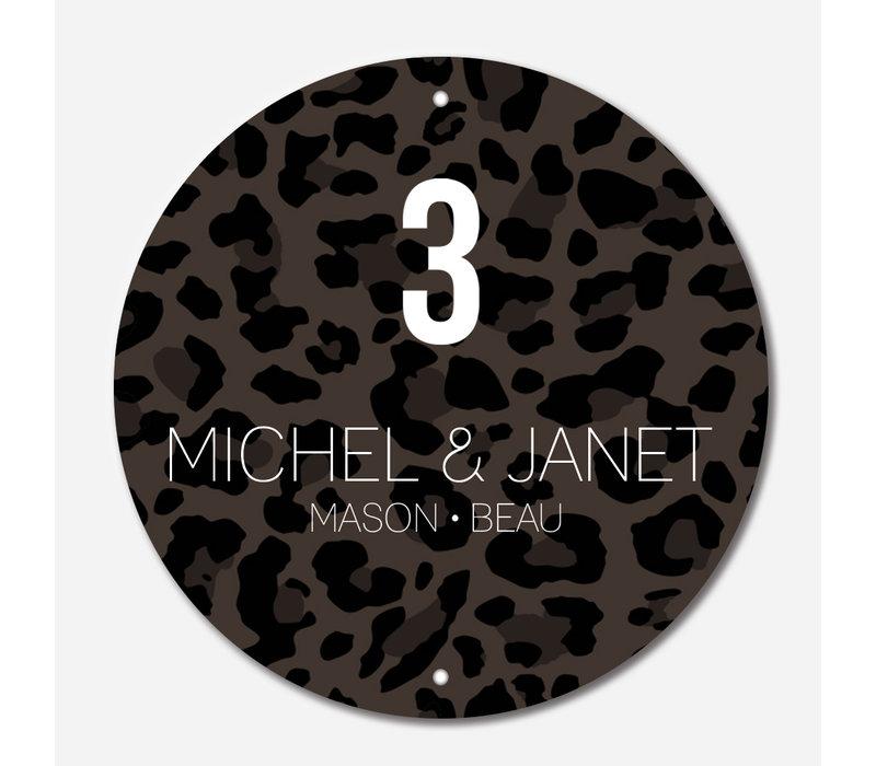 Naambordje print | Cirkel leopard