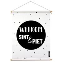 Textielposter binnen welkom sint & piet