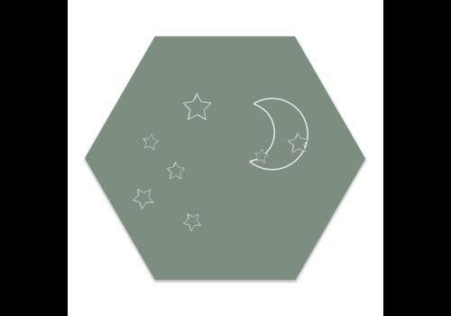 Label2X Muurhexagon kids | Maan sterren groen