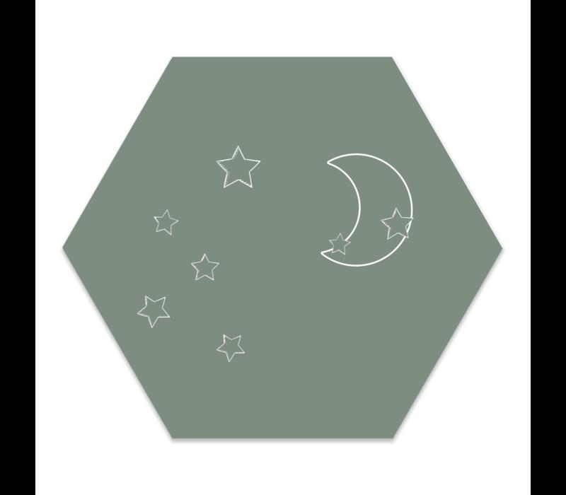 Muurhexagon kids | Maan sterren groen