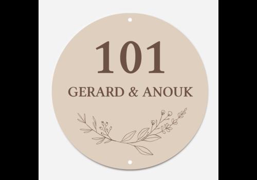 Label2X Naambordje print | Cirkel wreath nature