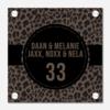 BrandLux Naambordje print | vierkant leopard cirkel