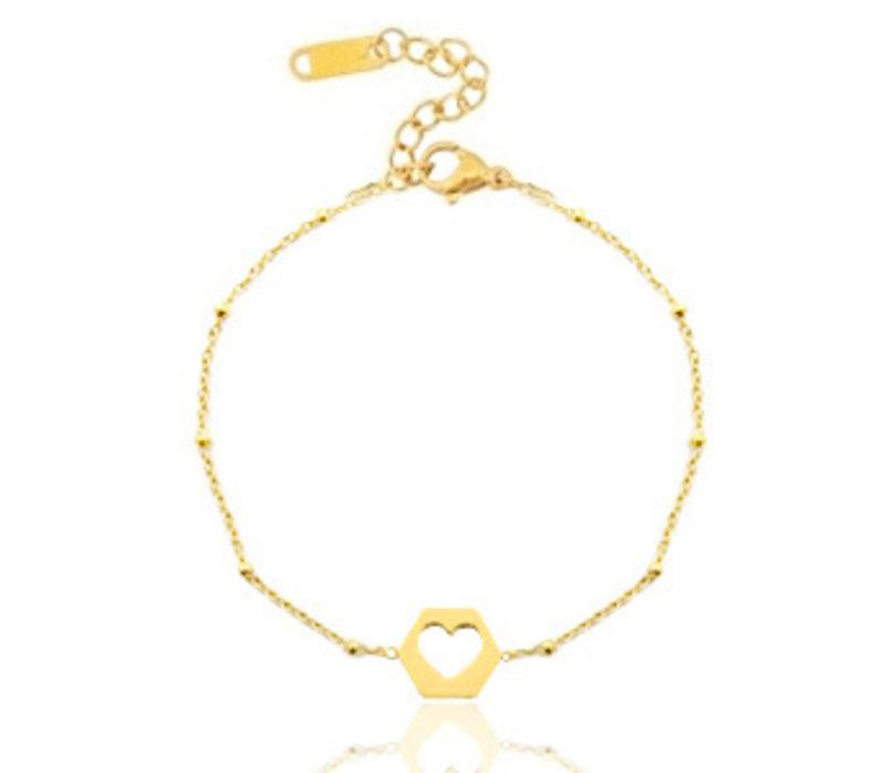 RVS armbandje hartje goud