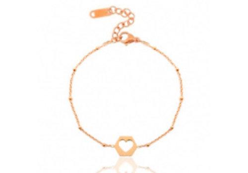 RVS armband hart rose goud