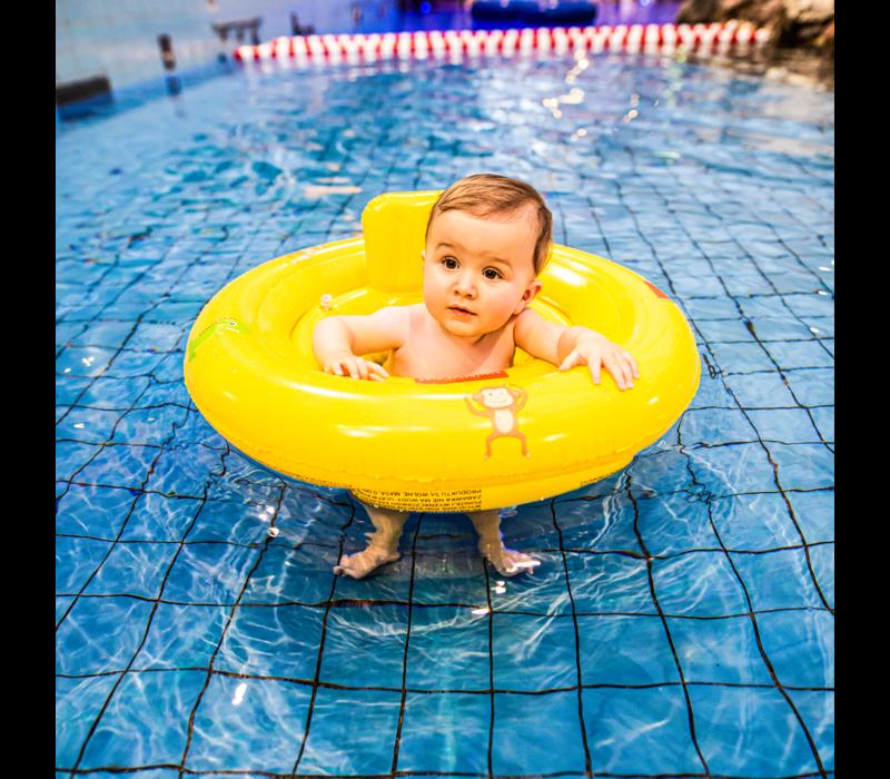 Opblaasbare Zwemzitje Geel met dieren   0-1 jaar.