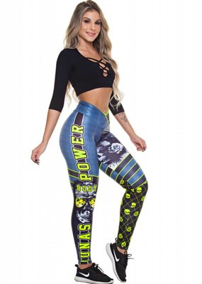 Dunas Dunas legging Digital Skull Green
