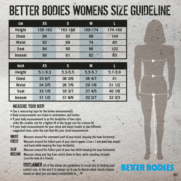 Better Bodies Maat Tabel