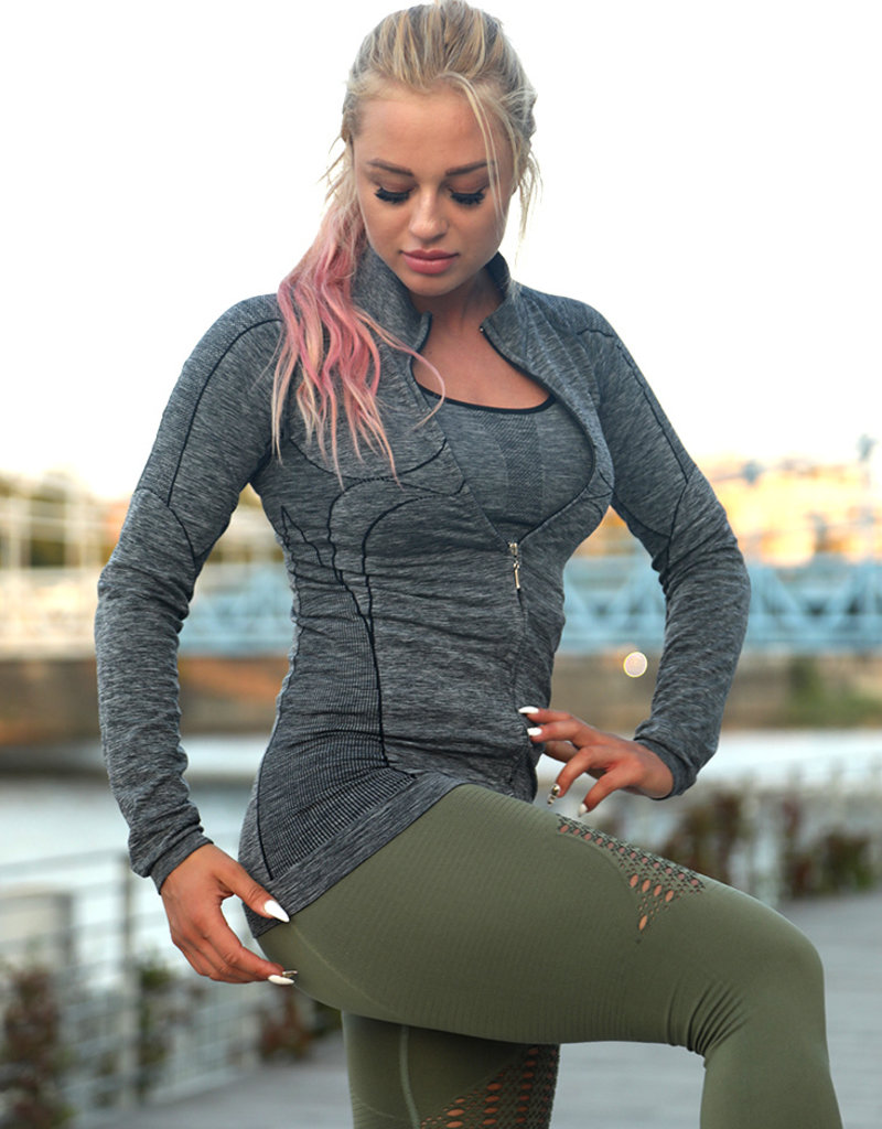Power Princess Power Princess Seamless Training Jacket Grey Blend