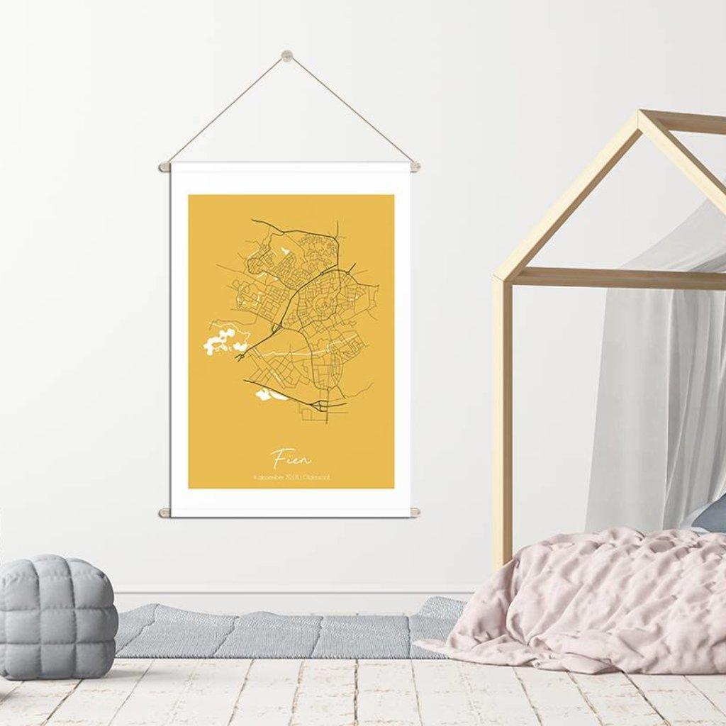 Designclaud Geburtsplakat Textil Geburtsposter Gelb