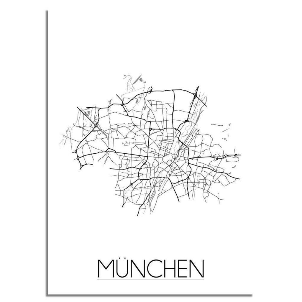 München Karte Schwarz Weiß.Designclaud Stadtplan Poster München