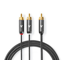 Subwoofer male-2x RCA male Cable 3.00m