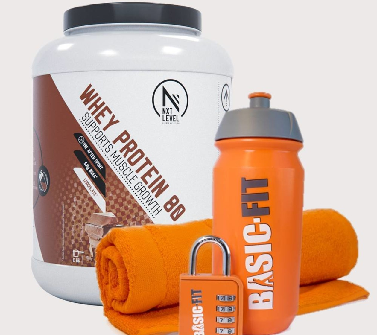 Toalla + Hangslot + Botella + NXT Level Whey Protein 80 - 2KG