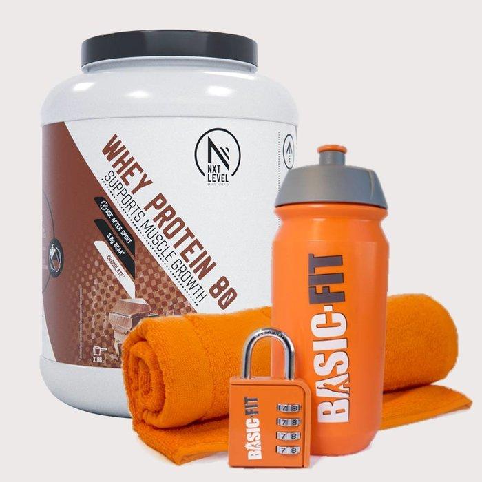 Handdoek + Hangslot + Bidon + NXT Level Whey Protein 80 - 2KG