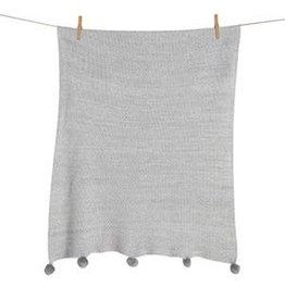 Quax Quax dekentje tricot pom pom grey