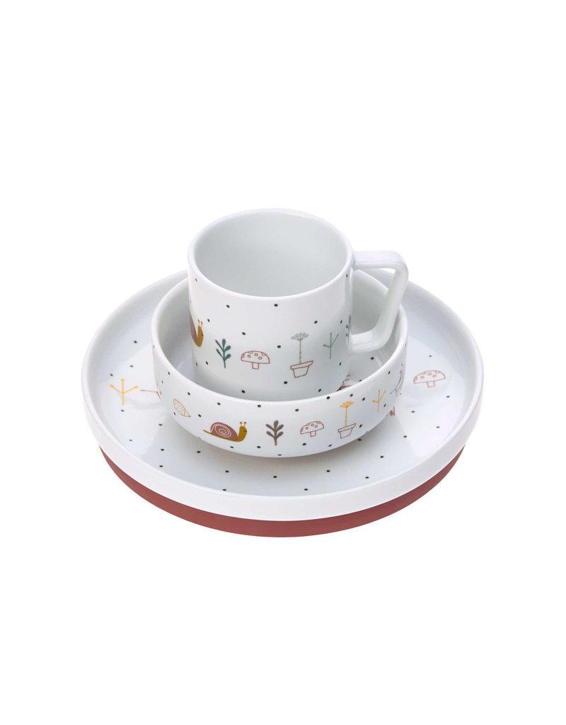 Lassig Lassig Dish Set Porcelain/Silicone Garden Explorer Red