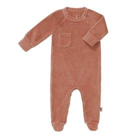 Fresk Fresk pyjama met voetjes velours Ash rose