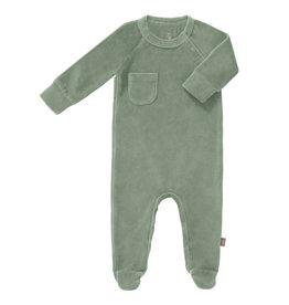 Fresk Fresk pyjama met voetjes velours Forest green