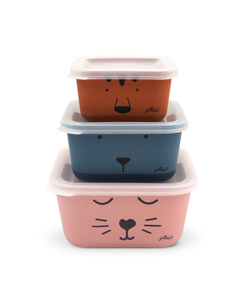 Jollein Jollein Snackbox bamboe Animal club 3stk