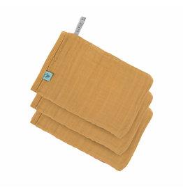 Lassig Lassig Muslin washandjes 3-pack Mustard