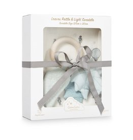 CamCam Copenhagen Cam Cam Gift Box Printed Swaddle and Leaves Rattle Holiday