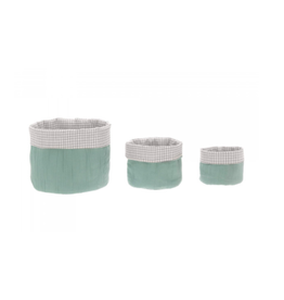 Lassig Lassig Storage Basket set Muslin Green 3stk