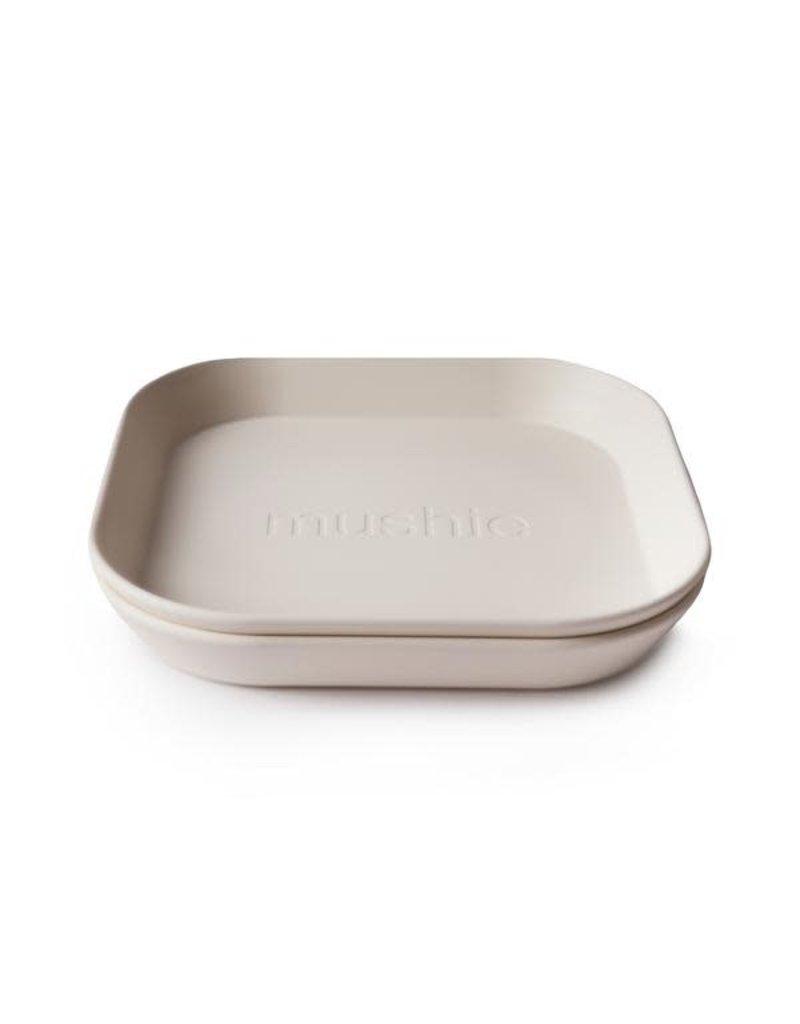 Mushie Mushie Plate Square Ivory set