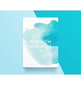 Kathings Kathings kaartje Welkom Kleintje Blauw Aquarel