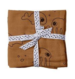 Done by Deer Done by Deer swaddles 2pack Sea Friends Mustard 120x120