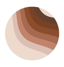 Eeveve Eeveve Splash Mat round Retro Lines Brown