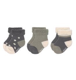 Lassig Lassig Newborn Socks Antraciet/Olive