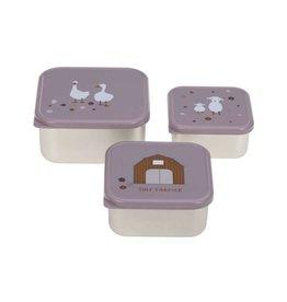 Lassig Lassig snackbox stainless steel 3 stuks tiny farmer lilac