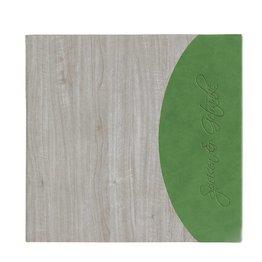"Speisenkarte ""Felia"" quadratisch white wash + grün"