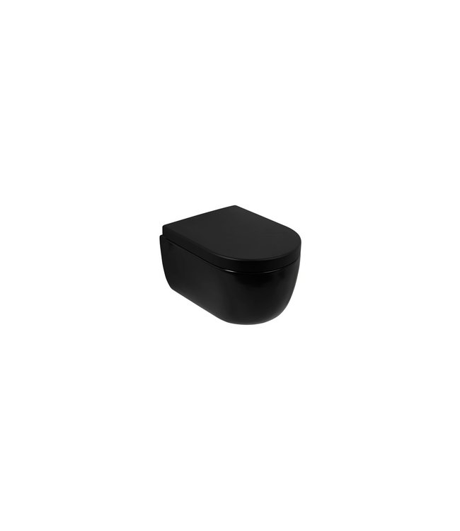 Plieger Plieger Nola wandclosetpack m. wandcloset diepspoel Compact Rimless 35.9x49cm m. closetzitting m. softclose en quick release mat zwart