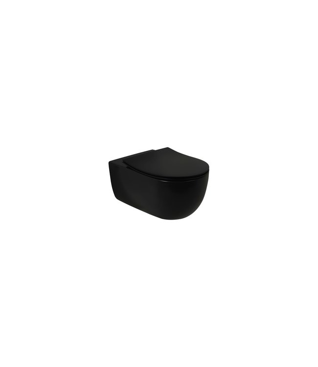 Plieger Plieger Nola wandclosetpack m. wandcloset diepspoel Rimless 35.7x54.5cm m. closetzitting slim m. softclose + quick release mat zwart