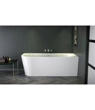 Xenz Xenz Charley Rechts 180x80x60 Bicolor wit/cement incl. 7006 badafvoer/vulcombinatie zwart mat Hoekbad