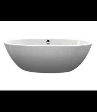 Xenz Xenz Britt XS 170x85x60 Bicolor wit/cement met afvoer/overloopcombinatie wit mat Ovaal