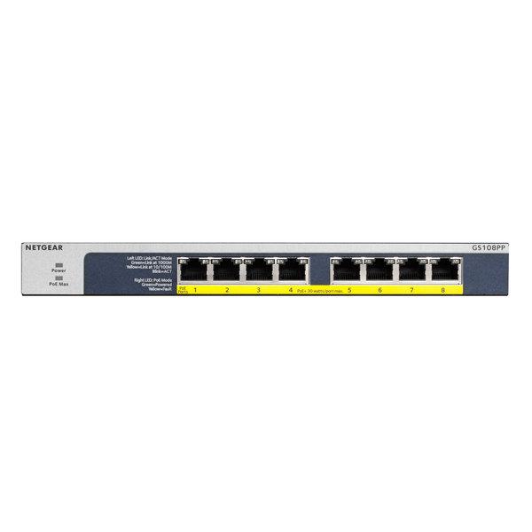 NETGEAR GS108PP 8-Poort PoE/PoE+ Gigabit Switch