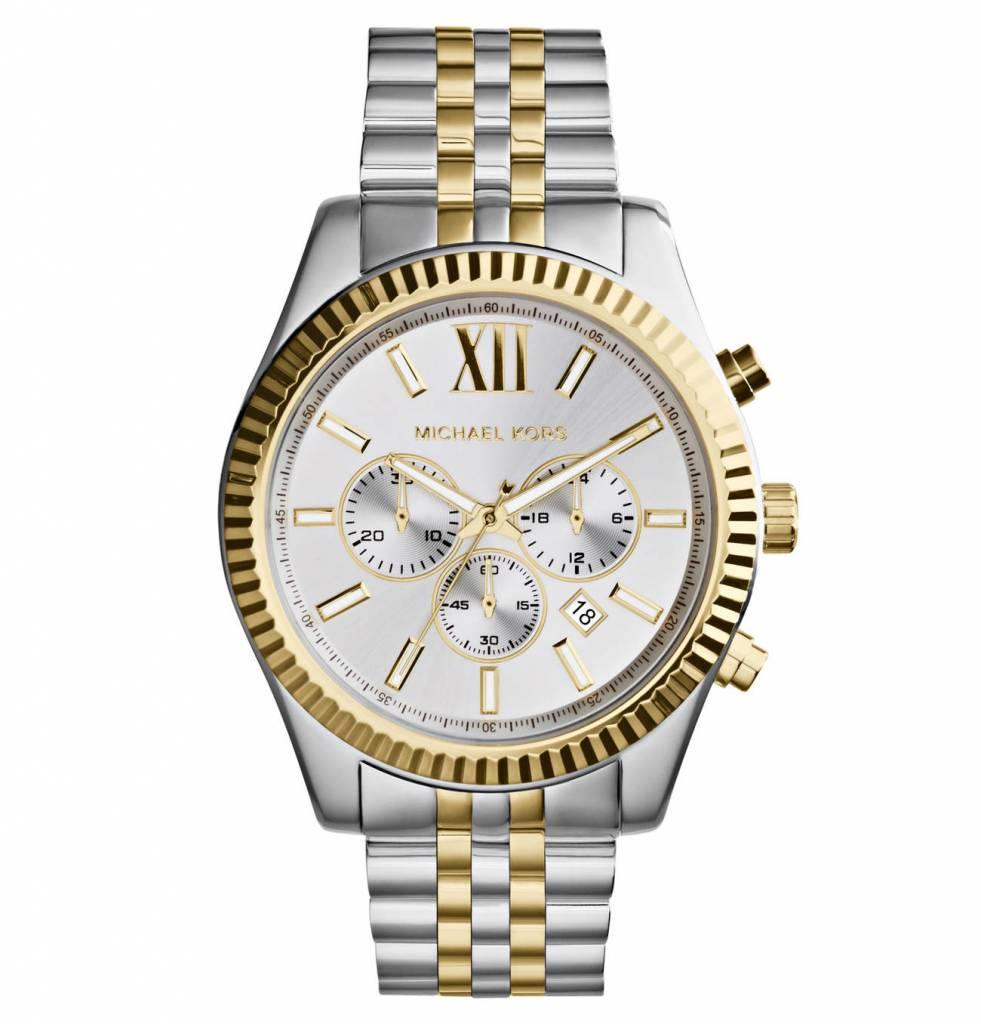 MK8344 Chronograph LEXINGTON Armbanduhr für Damen Herren Uhr silber Chrono 45MM Big