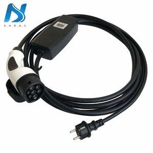 Khons Type 2 Portable Laadpunt met Stekker voor normaal stopcontact - 10A 1 fase plug (5 meter)