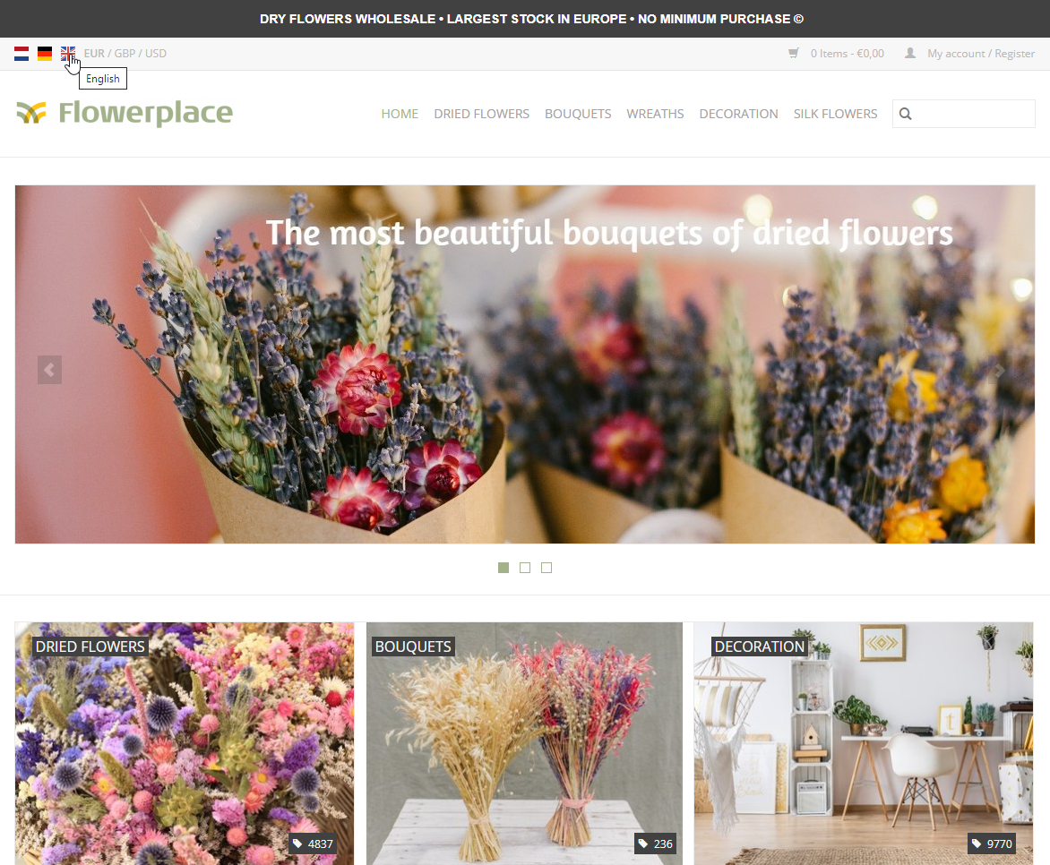 Wholesale dried flowers Europe