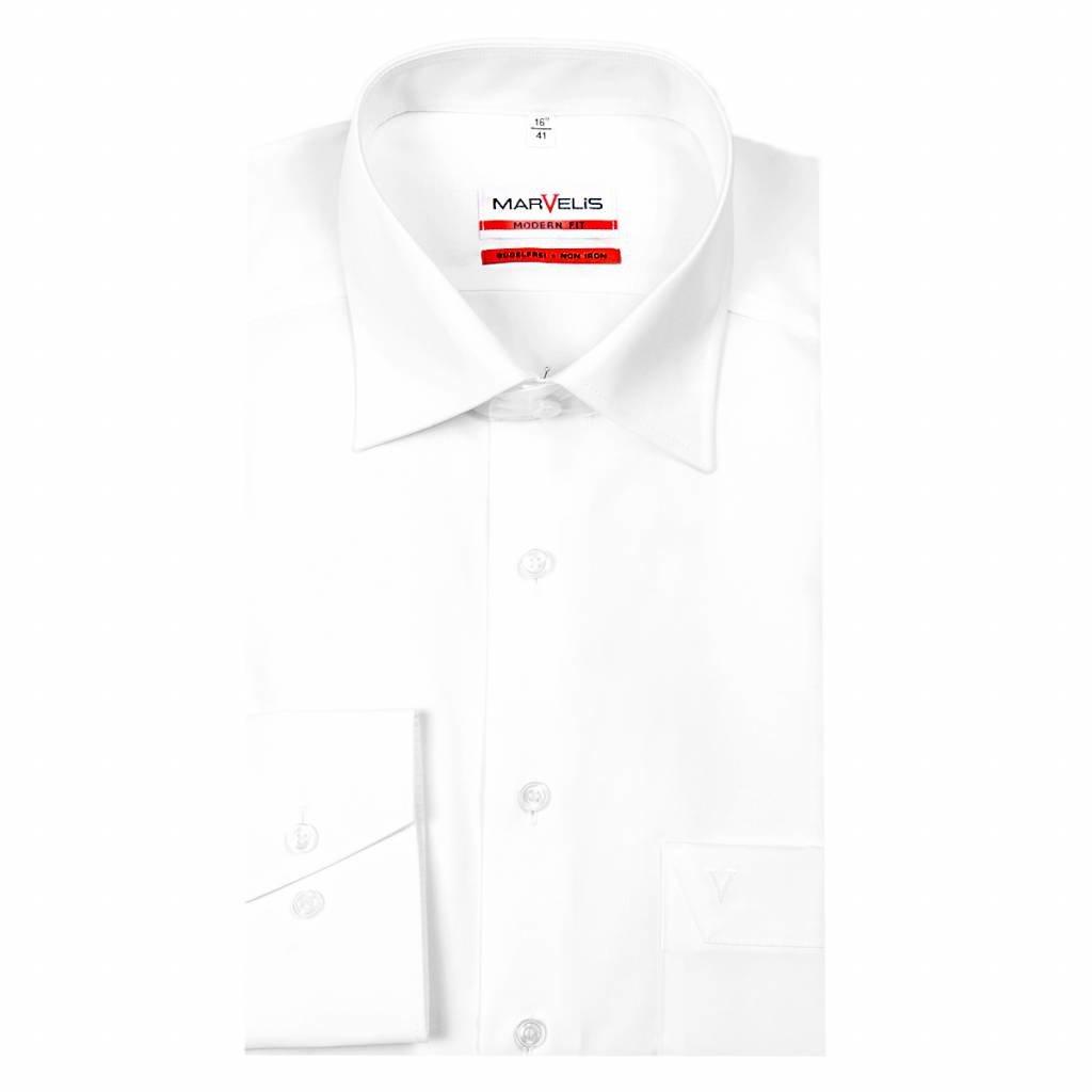 MarVelis MarVelis strijkvrij overhemd Modern Fit wit, New Kent