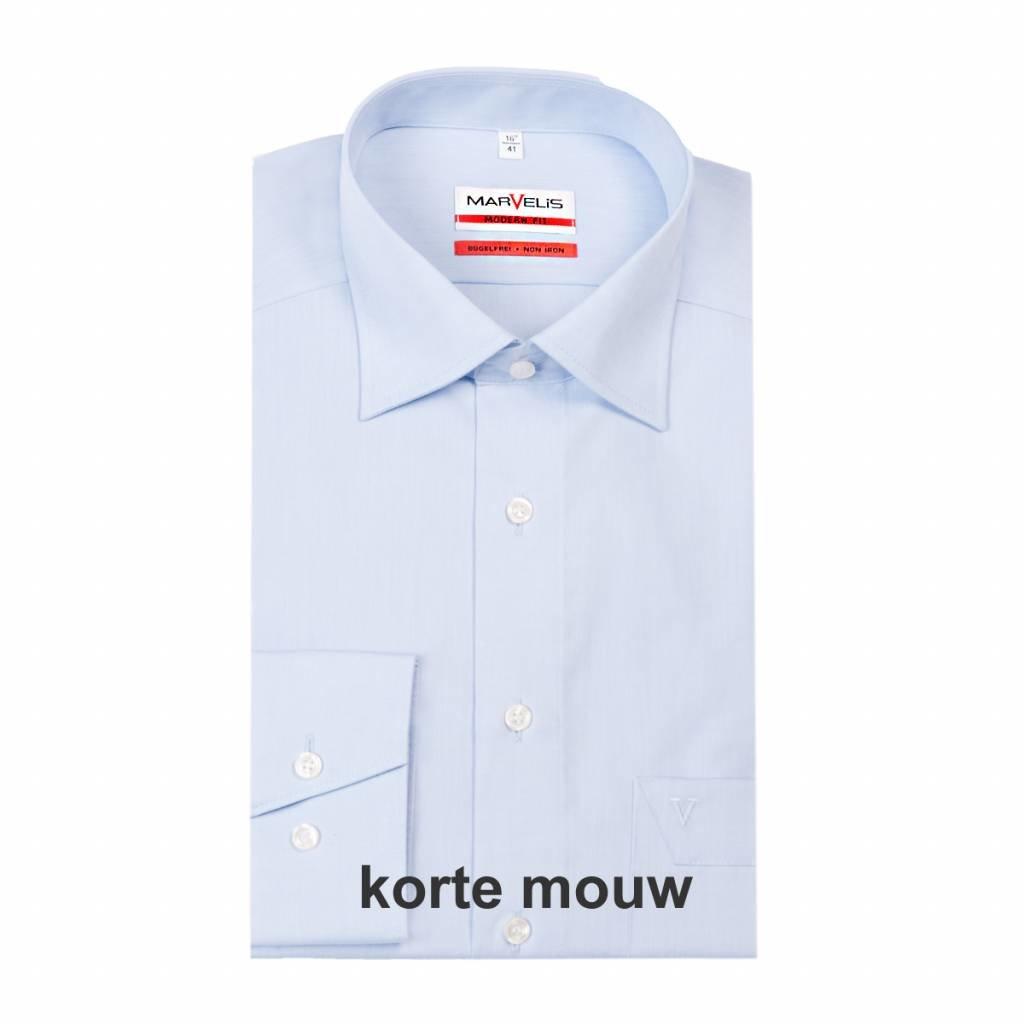 MarVelis MarVelis strijkvrij overhemd Modern Fit blue, New Kent, Korte mouw