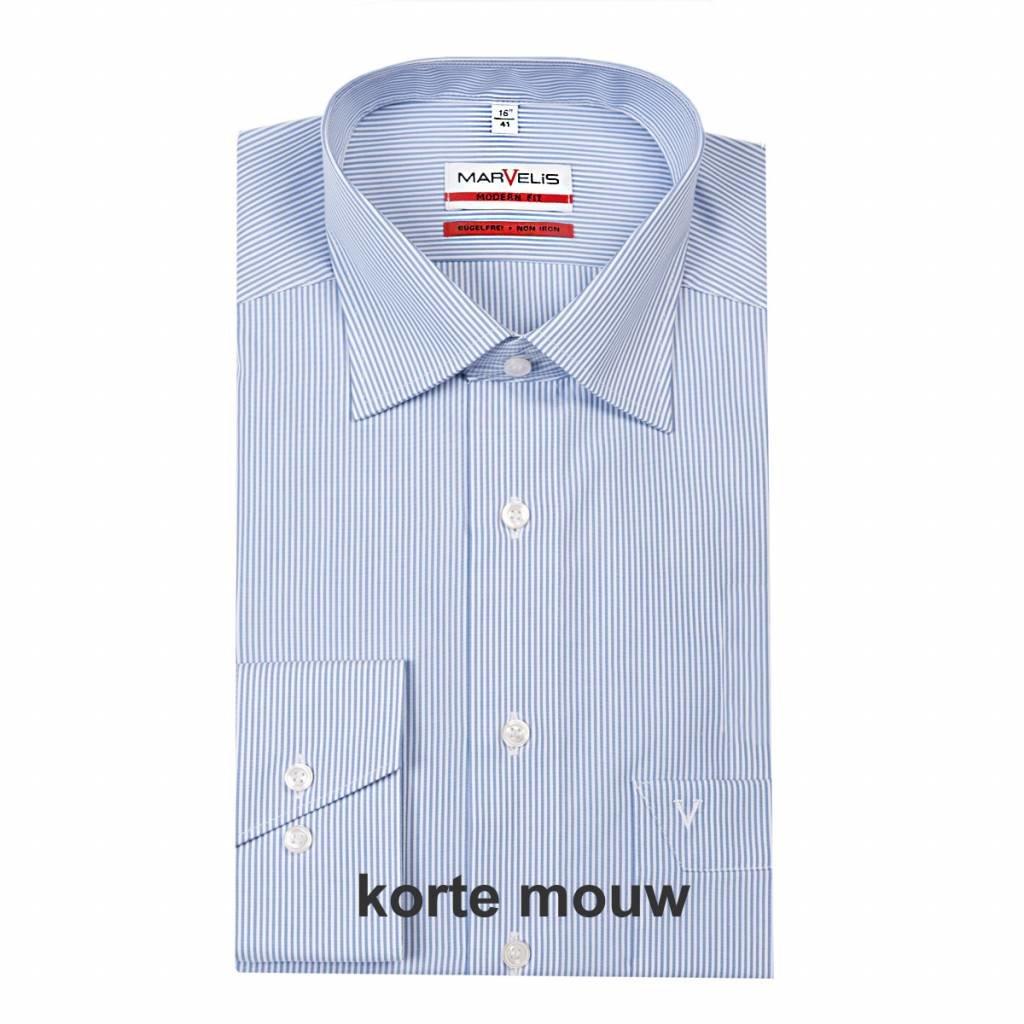 MarVelis MarVelis strijkvrij overhemd Modern Fit blauw-wit gestreept, New Kent, Korte mouw