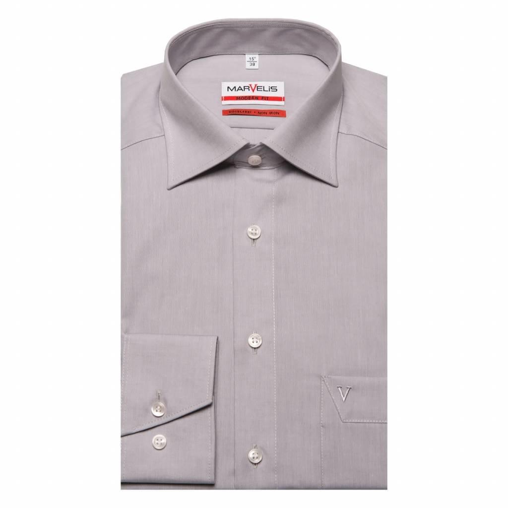 MarVelis MarVelis Chambray strijkvrij overhemd Modern Fit, licht grijs met New Kent kraag.