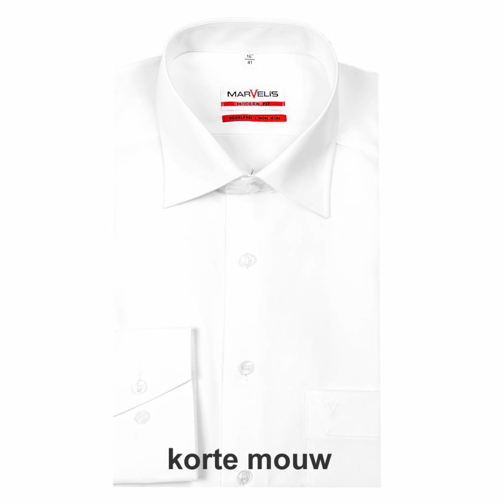 MarVelis MarVelis strijkvrij overhemd Modern Fit wit, New Kent, Korte mouw
