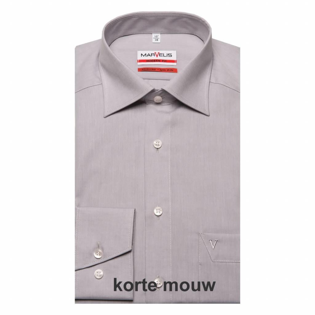 MarVelis MarVelis Chambray strijkvrij overhemd Modern Fit, licht grijs met New Kent kraag, Korte mouw